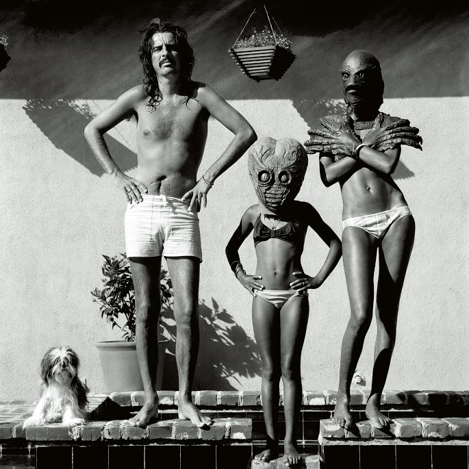 American rock singer Alice Cooper at his home with his girlfriend and her daughter wearing masks.